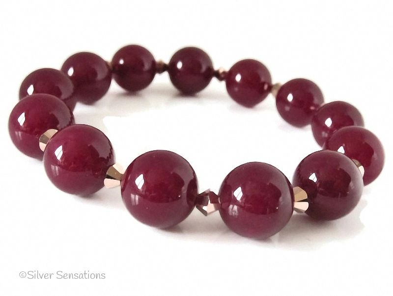 Chunky Burgundy Jade & Rose Gold Colour Swarovski Crystals Fashion Bracelet
