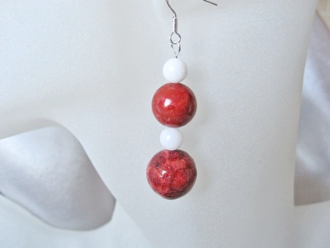 Chunky Red Beads & Snow White Agate Sterling Silver Earrings