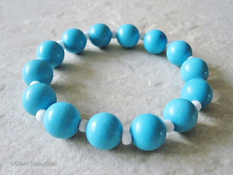 Chunky Turquoise Aqua Blue Magnesite & White Beaded Stretch Fashion Bracelet