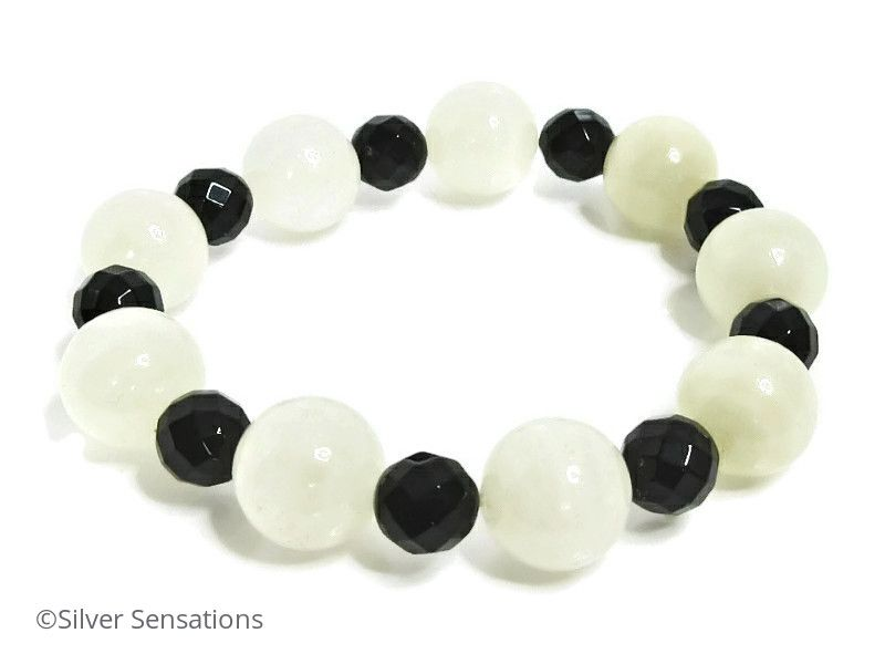 Chunky White/Clear Bowenite Jade & Faceted Black Onyx Bead Bracelet