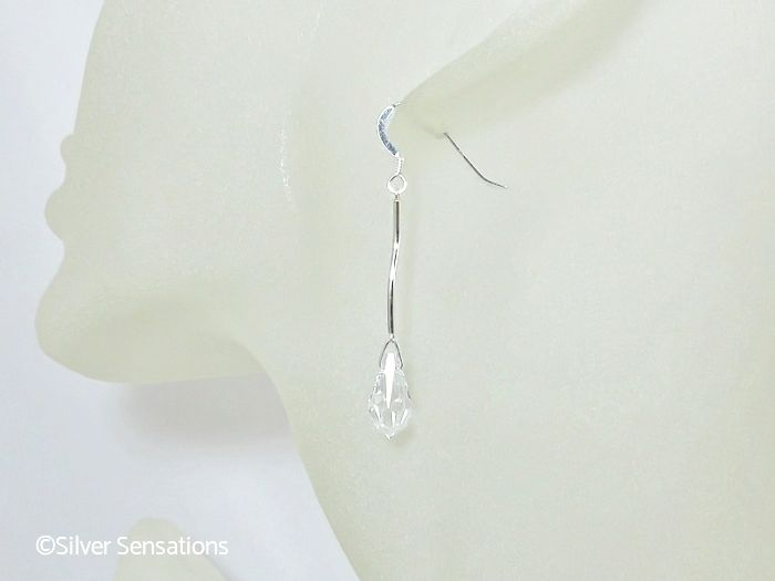 Clear Swarovski Crystal Teardrop Earrings With Solid Sterling Silver Curved Bars