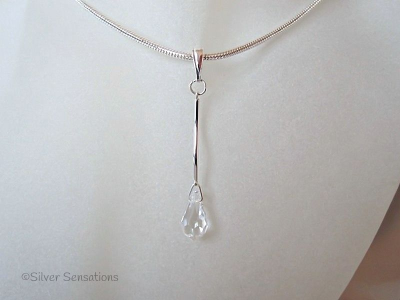 Clear Swarovski Crystal Teardrop & Sterling Silver Curved Bar Pendant