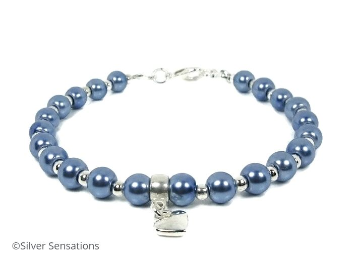 Cornflower Blue Pearls & Silver Charm Beaded Fashion Bracelet