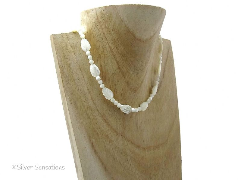 Cream Mother Of Pearl Carved Leaves Sterling Silver Necklace