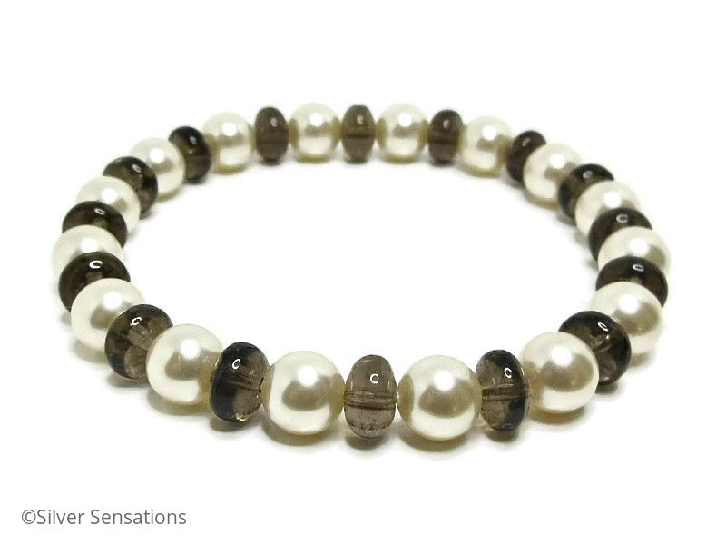 Cream Swarovski Pearls & Smokey Quartz Bracelet