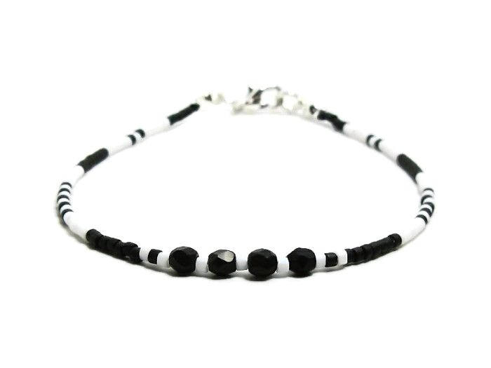 Dainty Black & White Layering Friendship Bracelet