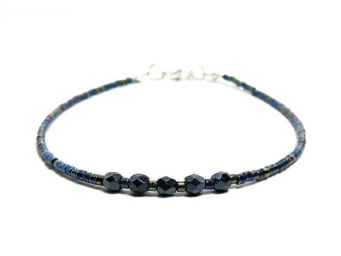Dainty Blue Black Seed Bead Friendship Bracelet
