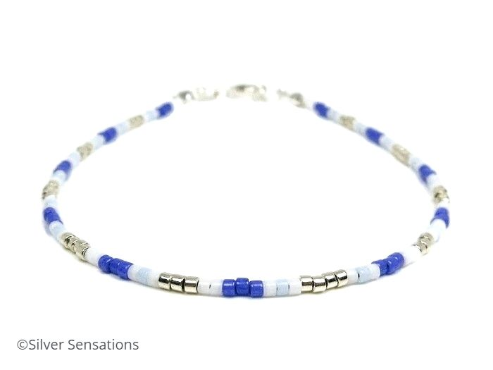 Dainty Blue, White & Silver Seed Bead Friendship Bracelet | Silver Sensations