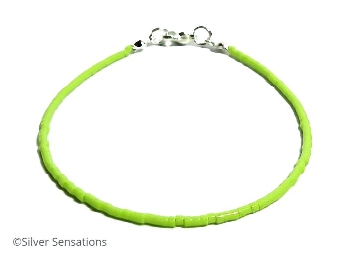 Dainty Bright Green Seed Bead Minimalist Friendship Anklet