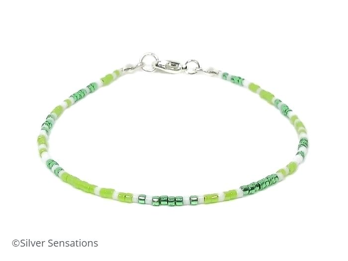 Dainty Bright Green & White Seed Bead Stacking Beach Bracelet | Silver Sensations