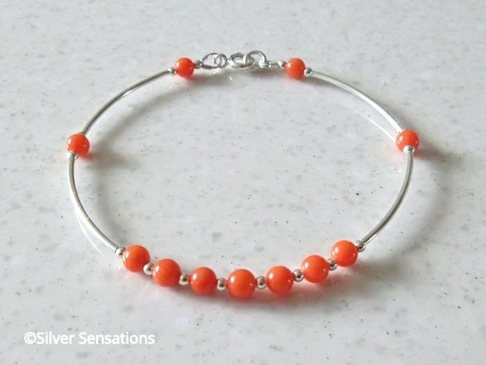 Dainty Orange Coral & Sterling Silver Bangle Bracelet | Silver Sensations