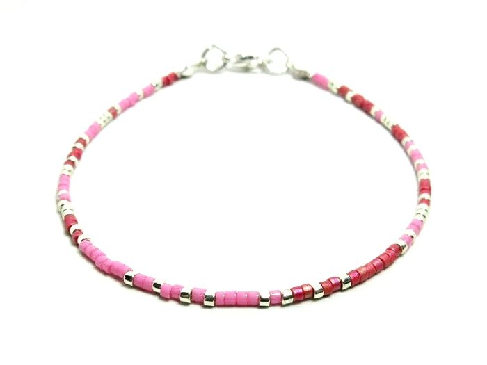 Dainty Pink, Red & Silver Seed Bead Holiday Anklet