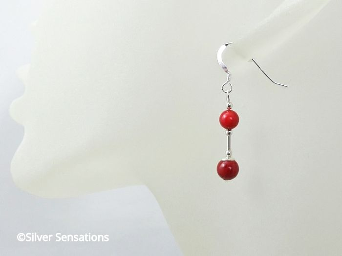 Dainty Red Coral Beaded Earrings With Sterling Silver Tubes