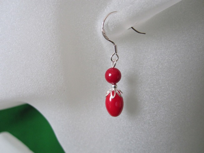 Dainty Red Coral Rice & Round Sterling Silver Earrings