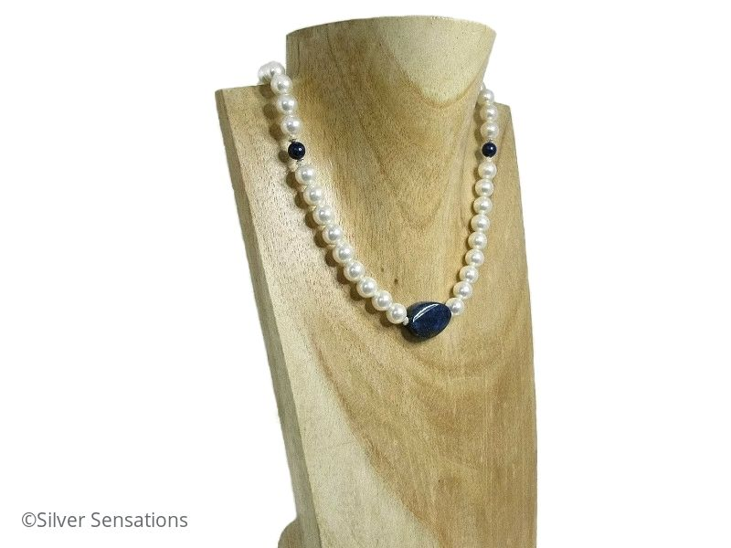 Dark Blue Lapis Lazuli & White Swarovski Pearls Sterling Silver Necklace | Silver Sensations