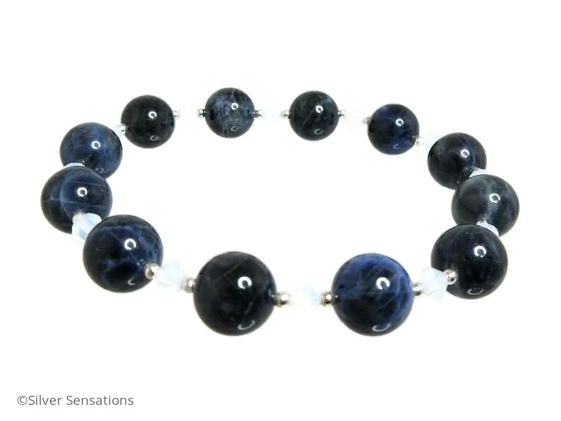 Dark Blue Sodalite, Opal Colour Crystals & Sterling Silver Beaded Stretch Bracelet
