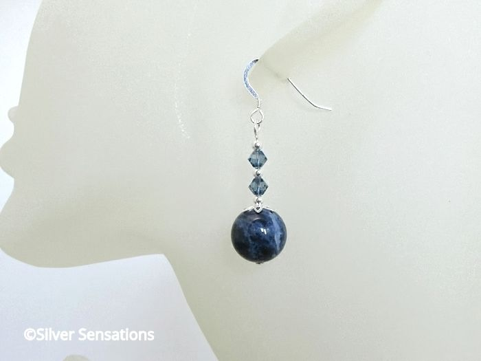 Dark Blue Sodalite & Swarovski Crystals Earrings With Sterling Silver