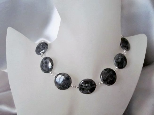 Dark Grey Silvery Labradorite Coins, Swarovski Crystals & Sterling Silver Necklace | Silver Sensations