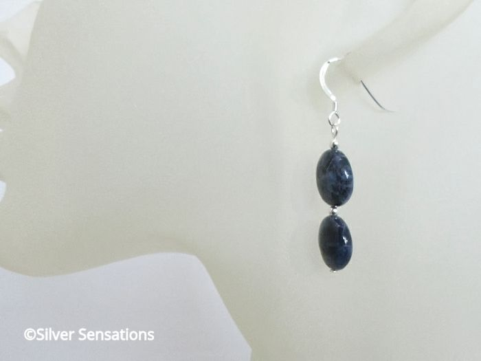 Dark Navy Blue Sodalite Coins Earrings With Sterling Silver