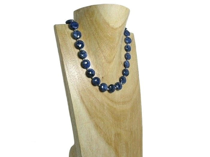 Dark Navy Blue Sodalite Coins Necklace With Sterling Silver