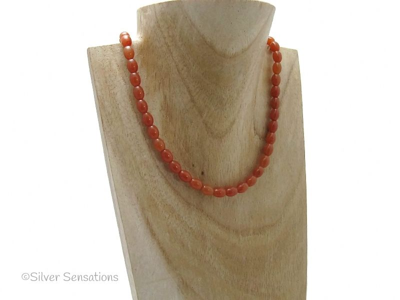 Dark Orange Red Aventurine Rice Bead Sterling Silver Necklace