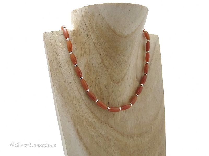 Dark Orange Red Aventurine Rice Beads & Sterling Silver Necklace