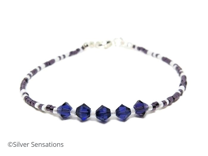 Dark Purple & White Dainty Seed Bead Bracelet With Swarovski Crystals | Silver Sensations