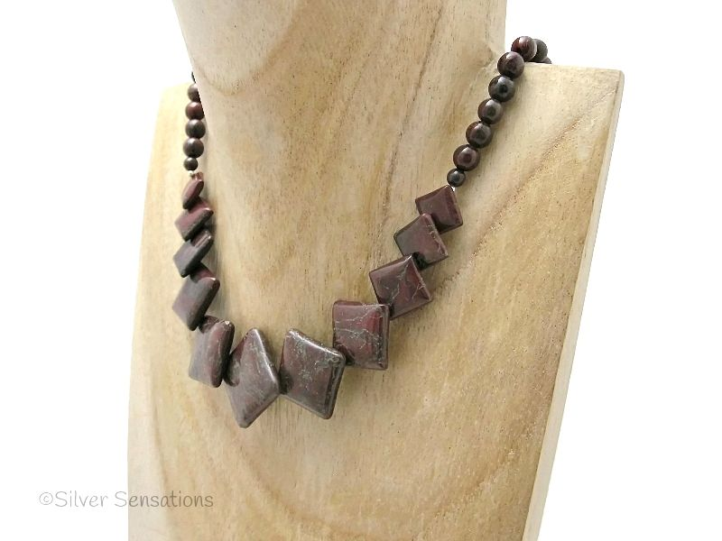 Dark Red Brown Flame Jasper 'Diamonds' & Poppy Jasper Sterling Silver Necklace