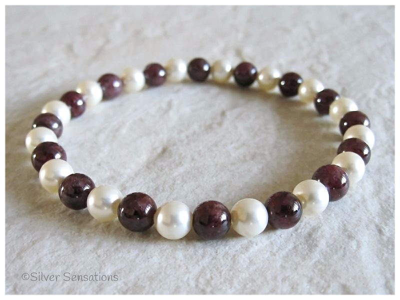 Deep Burgundy Maroon Red Garnet & Cream Swarovski Pearls Bead Bracelet