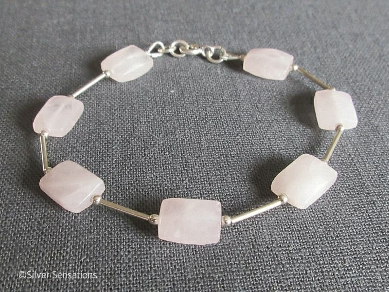 Faceted Baby Pink Rose Quartz Oblong Beads & Sterling Silver Tubes Bracelet
