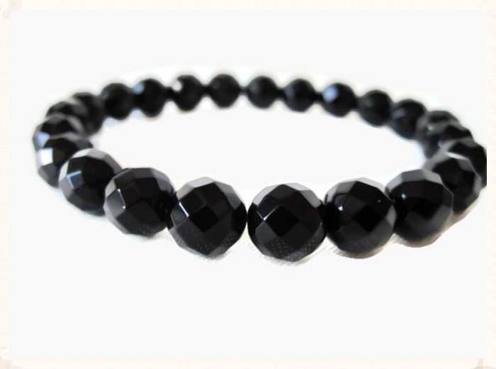 Faceted Black Onyx Bead Bracelet
