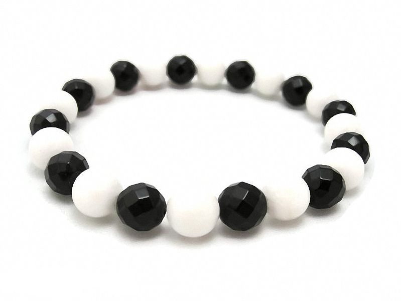 Faceted Black Onyx & Snow White Agate Beaded Bracelet