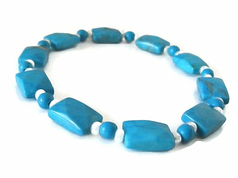 Faceted Blue Howlite Turquoise & White Bead Stretch Bracelet