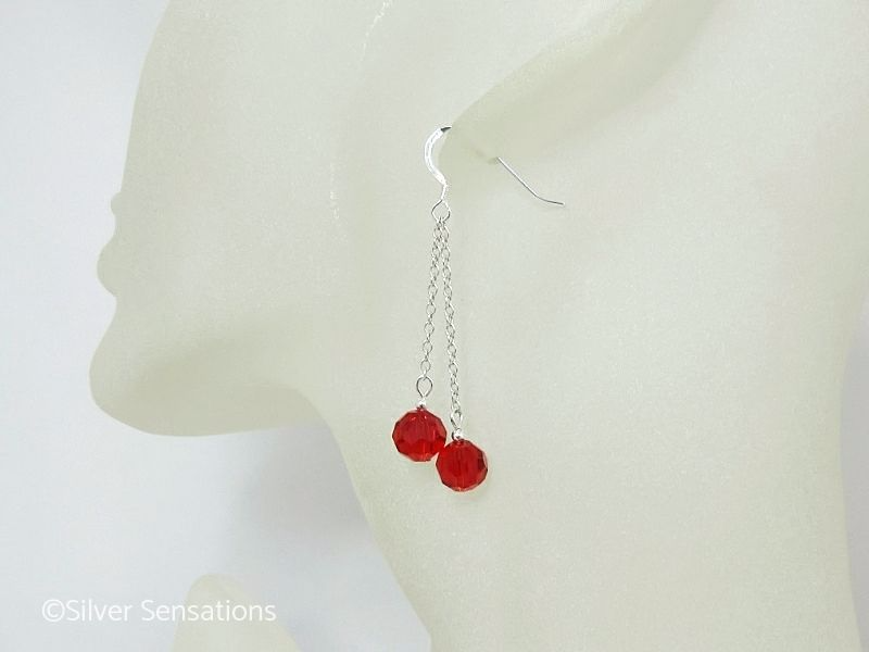 Faceted Cherry Red Crystals & Sterling Silver Double Chain Long Earrings