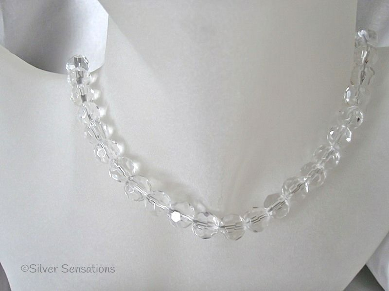 Faceted Clear Crystal Sterling Silver Necklace
