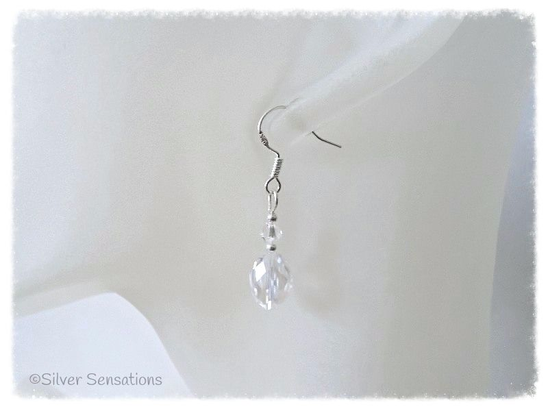 Faceted Clear Rock Crystal Oval Beads, Swarovski Crystal & Sterling Silver Earrings