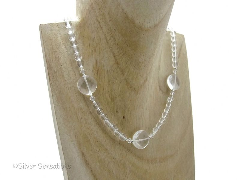 Faceted Clear Rock Crystal Quartz Coins Sterling Silver Necklace