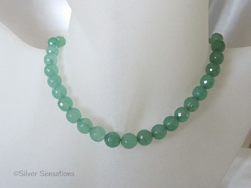 Faceted Light Green Jade Beaded Sterling Silver Necklace