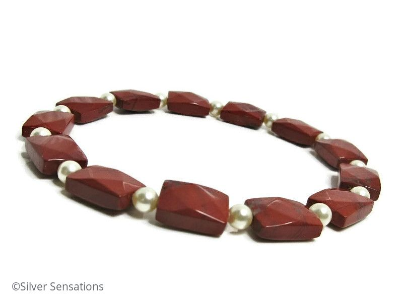 Faceted Red Jasper Oblong Beads & Cream Swarovski Pearls Bracelet