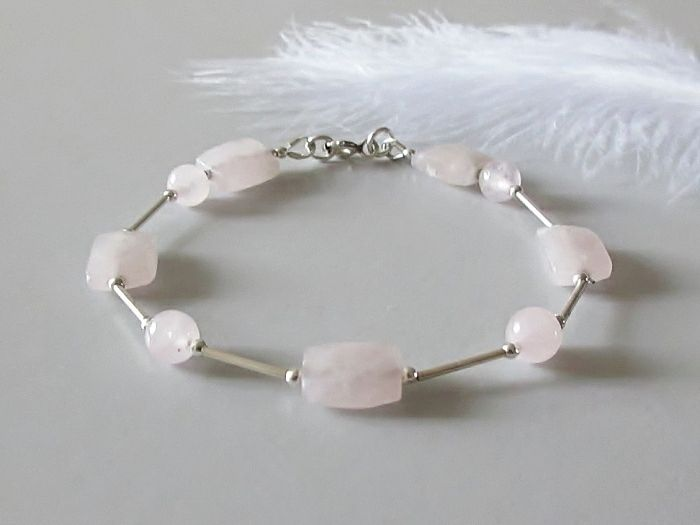 Faceted Rose Quartz Oblong Beads Bracelet With Sterling Silver Tubes