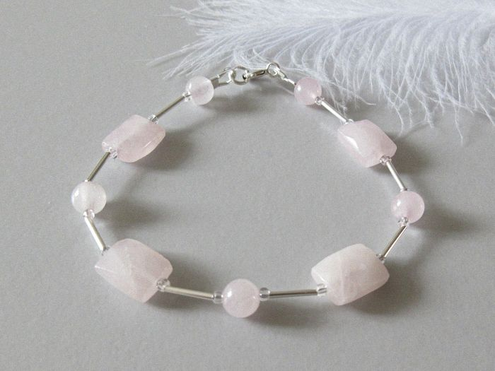 Faceted Rose Quartz Oblongs Bracelet With Sterling Silver Tubes