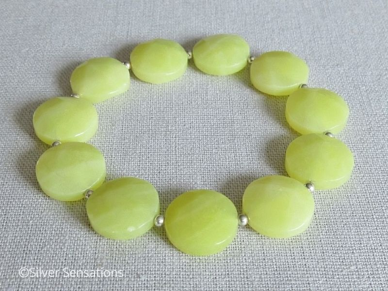 Faceted Yellow Olive Jade Coins & Sterling Silver Bracelet