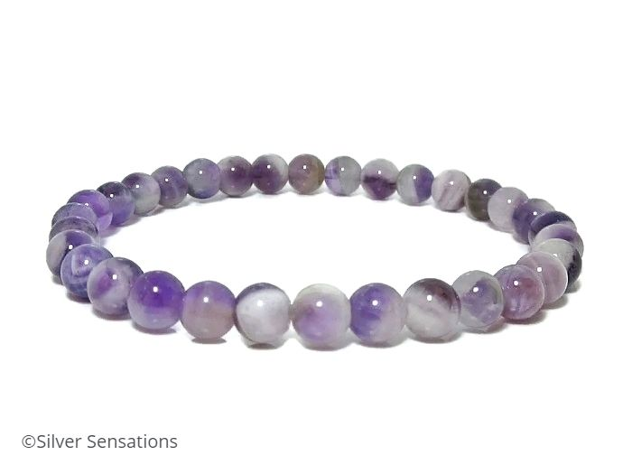 Feminine Shades Of Purple Amethyst Beaded Stretch Bracelet