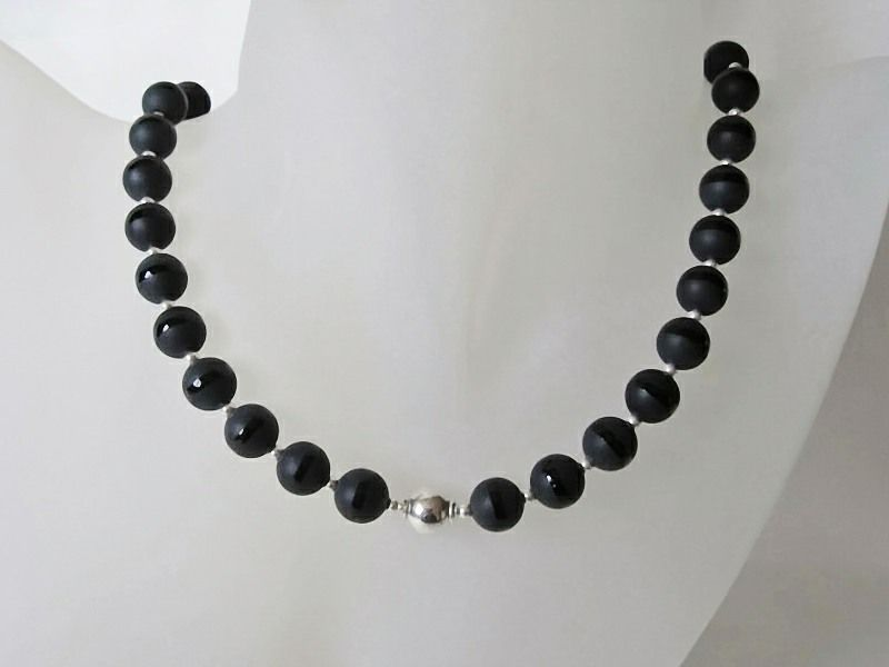 Frosted Black Onyx Stripe Beads & Sterling Silver Beaded Designer Necklace