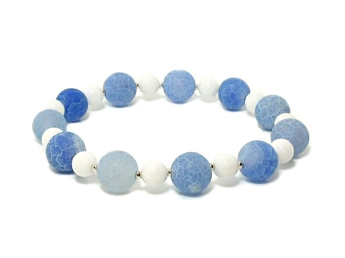 Frosted Blue Cracked Agate Bracelet With White Agate & Sterling Silver