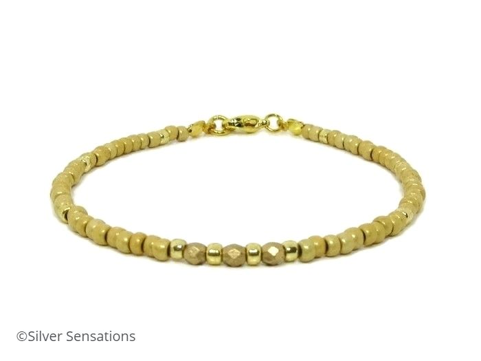 Frosted Gold Seed Beads Holiday Friendship Bracelet | Silver Sensations