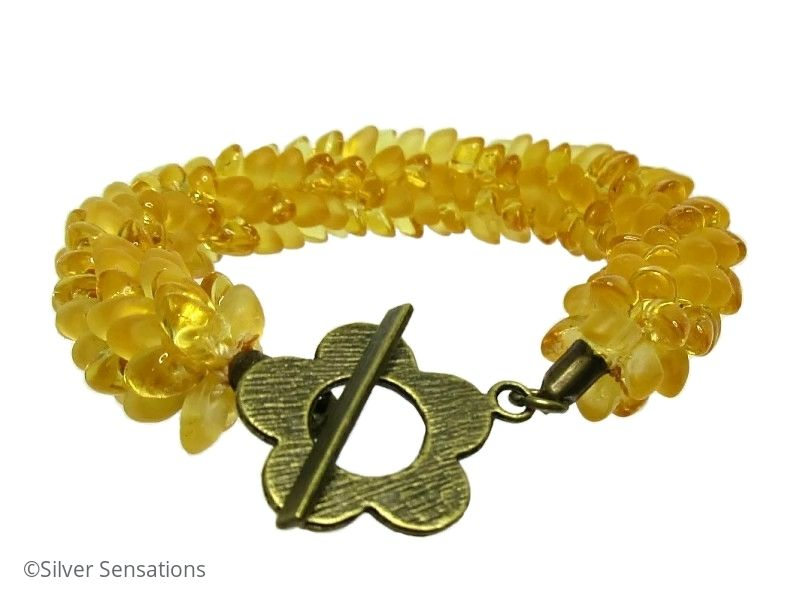 Frosted & Golden Yellow Beaded & Woven Petals Kumihimo Seed Bead Bracelet
