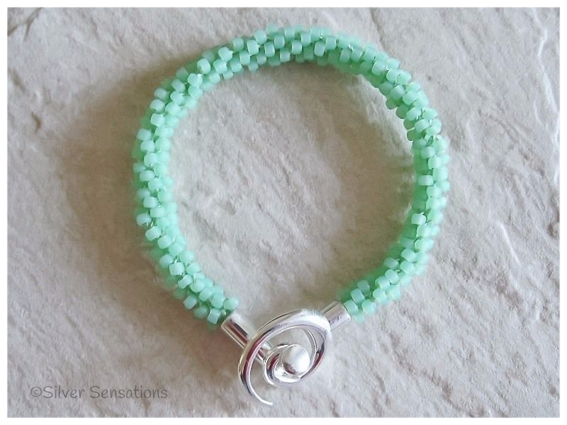 Frosted Pastel Mint Green Beaded & Woven Kumihimo Seed Bead Bracelet