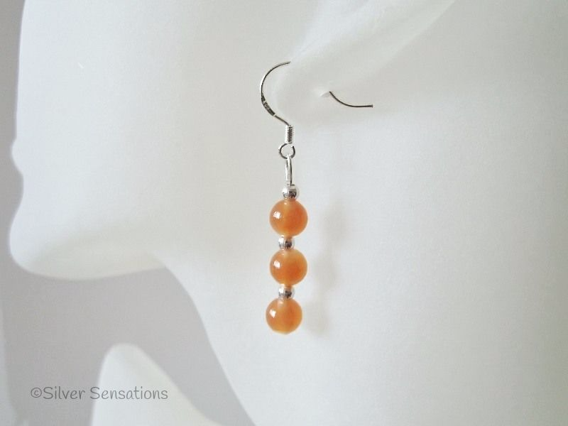 Fruity Orange Jade Trio & Sterling Silver Earrings