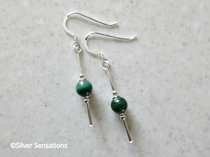 Genuine Green Malachite Bead Earrings With Sterling Silver Tubes